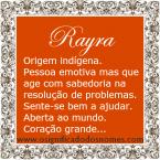 Significado do nome rayra